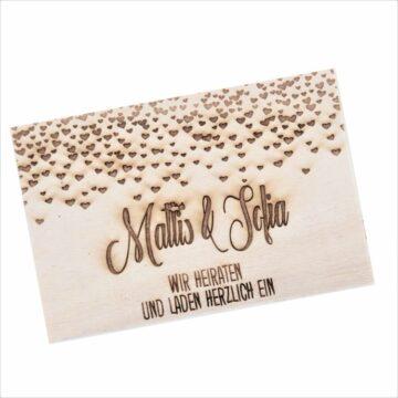 Hochzeitskarten aus Holz, graviert mit Ihrem eigenen Text oder Bild.